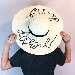 Wide Brim Beach Hat Do Not Disturb Sequin Sun Hat